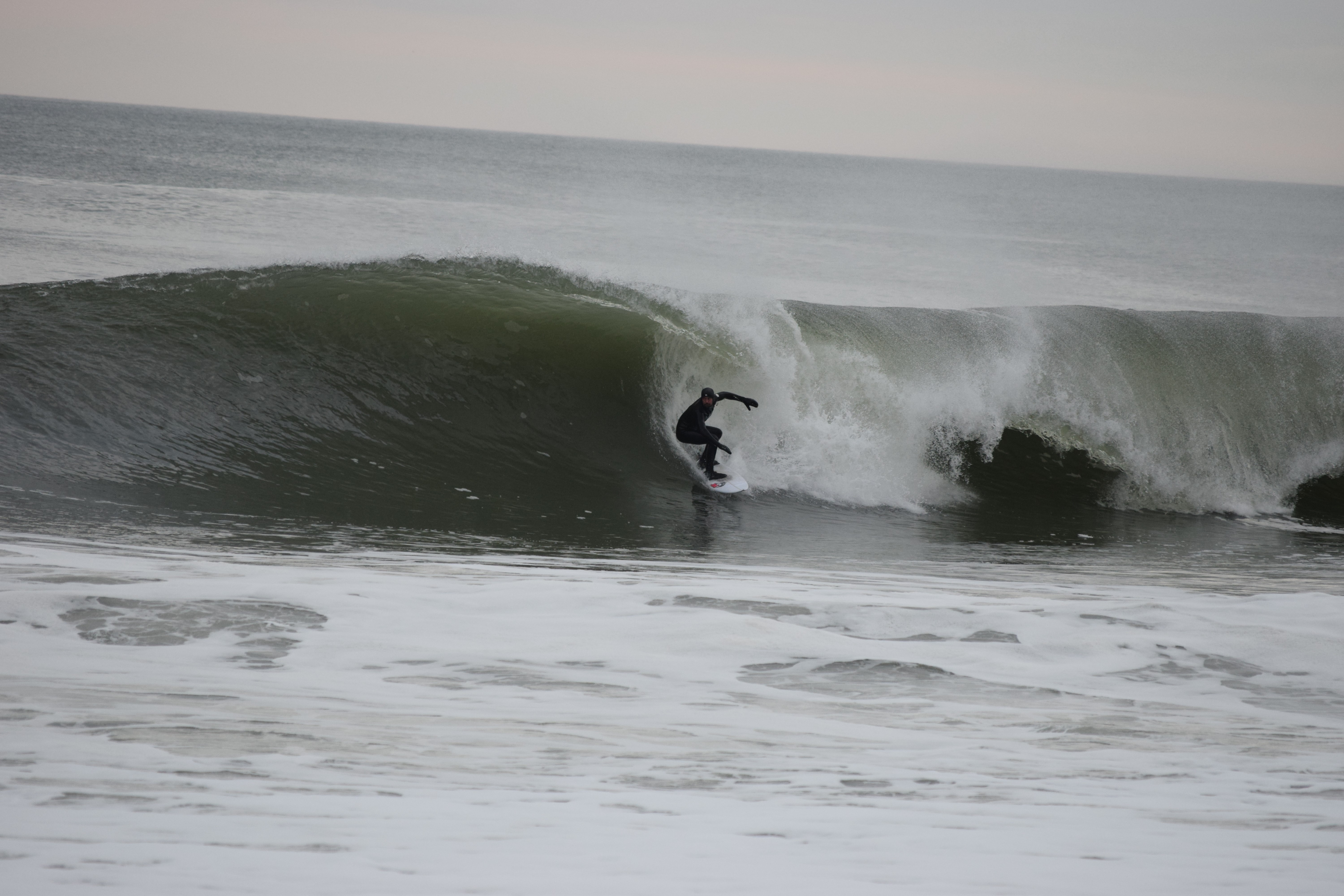 8 weeks after surgery, dropping in to a big swell on the NJ shore.  He had a displaced femoral neck fracture from a skateboarding accident in Denver, while visiting CO, requiring emergent surgery and internal screw fixation.